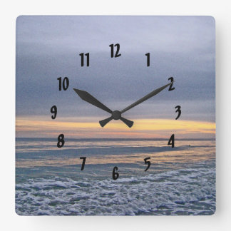 Divine Sunset Along Oak Island Beach Square Wall Clock