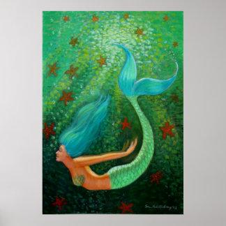 Diving Blue Hair Mermaid fantasy art Poster