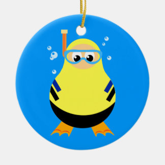Diving Cartoon Snorkeler Double-Sided Ceramic Round Christmas Ornament
