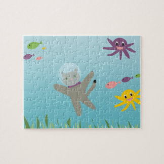Diving Cat Underwater Jigsaw Puzzle