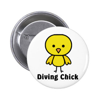 Diving Chick Gear Pinback Button