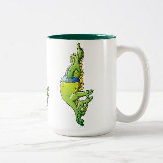 Diving Crocodile Two-Tone Coffee Mug