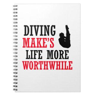diving design spiral notebooks