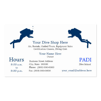 Diving Equipment Sales, Rentals Business Card Templates