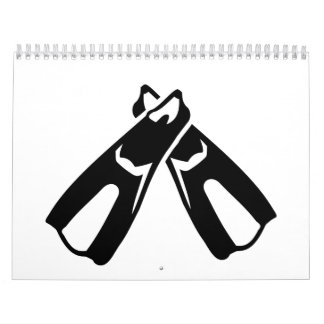 Diving Fins Flippers Wall Calendar