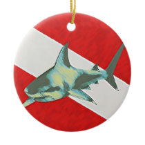 diving flag shark ceramic ornament