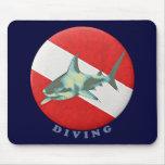 diving flag shark mousepads