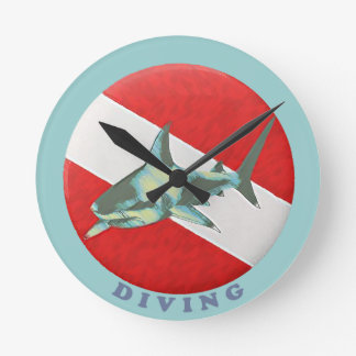 diving flag shark round clock