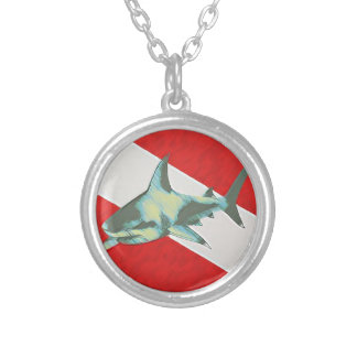 diving flag with shark silver plated necklace