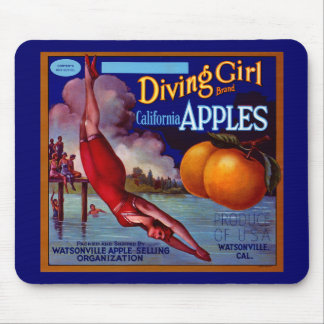 Diving Girl Apples Mouse Pad