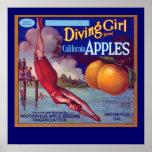 Diving Girl Apples Poster