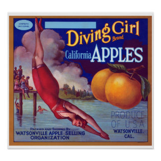 Diving Girl Apples Posters