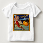 Diving Girl Apples - Vintage Fruit Crate Label Baby T-Shirt