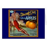 Diving Girl Apples - Vintage Fruit Crate Label Card