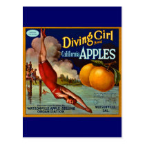 Diving Girl Apples - Vintage Fruit Crate Label Postcard