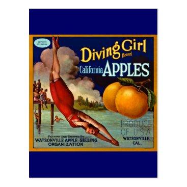 scenesfromthepast Diving Girl Apples - Vintage Fruit Crate Label Postcard