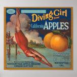 Diving Girl Brand California Apples Fruit Crate La Poster