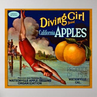 Diving Girl Brand California Apples - Vintage Poster