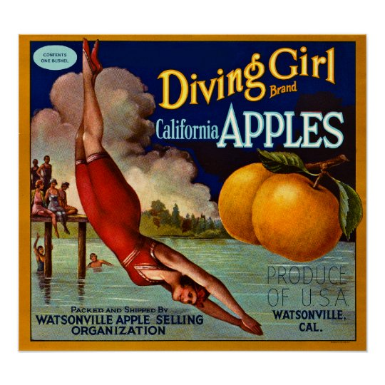 Diving Girl Brand California Apples - Vintage Poster