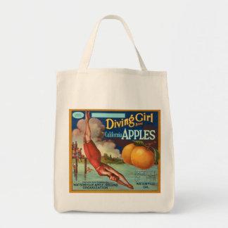 Diving Girl California Apple Fruit Crate Label Grocery Tote Bag