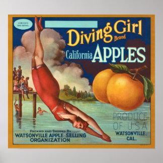 Diving Girl California Apple Fruit Crate Label Poster