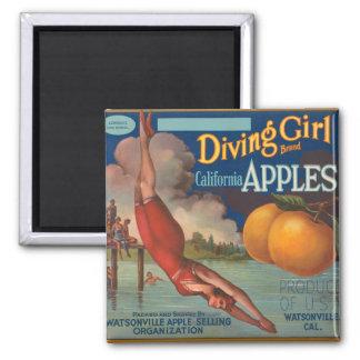 Diving Girl California Apples Magnet