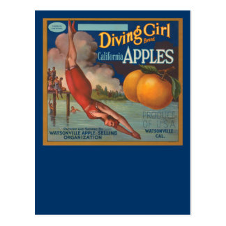 Diving Girl California Apples Postcard