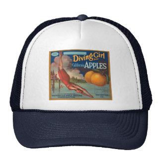 Diving Girl California Apples Trucker Hat