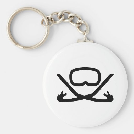 diving goggles and snorkel basic round button keychain