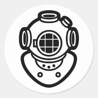 Diving Helmet Classic Round Sticker