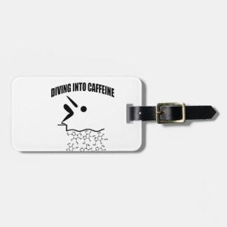 Diving Into Caffeine Bag Tag