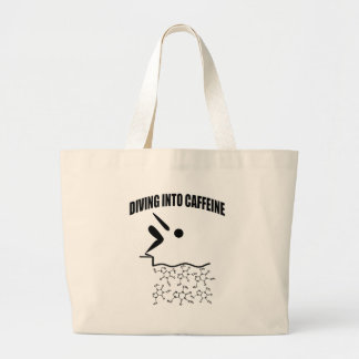 Diving Into Caffeine Large Tote Bag