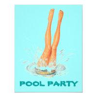 Diving Legs Retro Swimming Pool Party Invitations