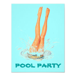 Diving Legs Retro Swimming Pool Party Invitations