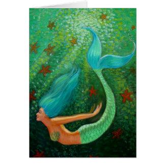 Diving Mermaid green sea fantasy art greeting card