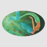 Diving Mermaid Oval Sticker
