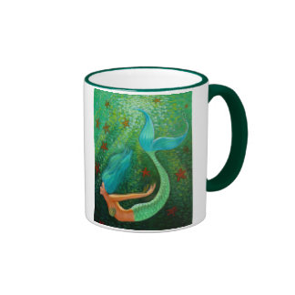 Diving Mermaid Ringer Coffee Mug