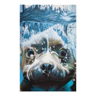 Diving pitbull design stationery