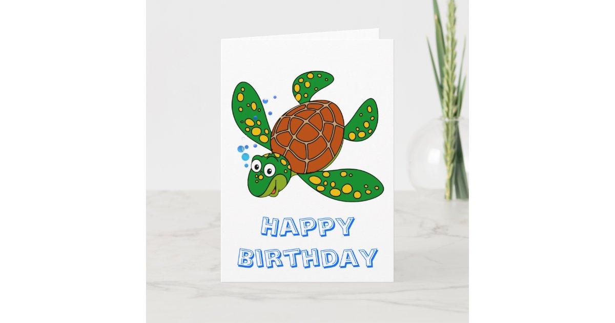 Diving Sea Turtle Birthday Card Zazzle