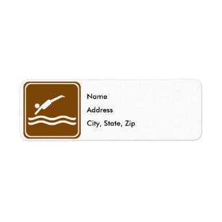 Diving / Swimming Area Highway Sign Return Address Label