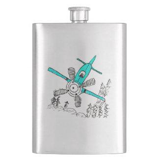 Diving Teal Plane Flask