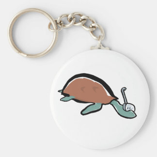 diving tortoise basic round button keychain
