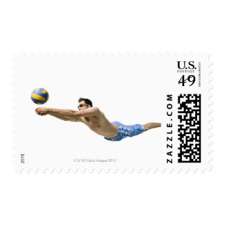 Diving volleyball player postage stamp