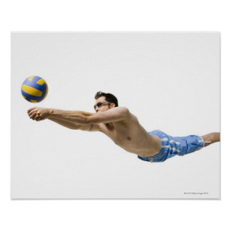 Diving volleyball player poster
