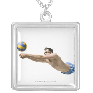 Diving volleyball player silver plated necklace