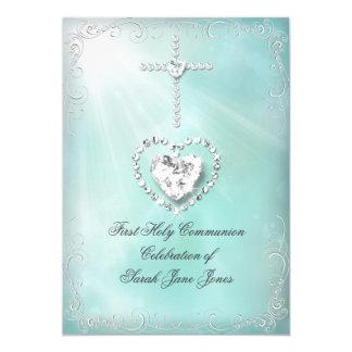 """Divino azul del primer trullo de la comunión santa invitación 5"""" x 7"""""""