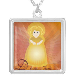 Divino Jesus Dazzling Love Fiery Angel's Wings Square Pendant Necklace