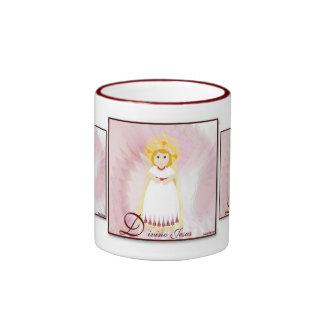 Divino Jesus Dazzling LoveBurgundy Angel's Wings Ringer Coffee Mug