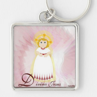Divino Jesus Dazzling LoveBurgundy Angel's Wings Silver-Colored Square Keychain