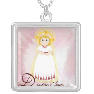 Divino Jesus Dazzling LoveBurgundy Angel's Wings Square Pendant Necklace